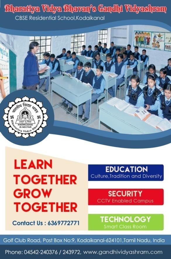 Admission opens in BHARATIYA VIDYA BHAVAN'S GANDHI VIDYASHRAM